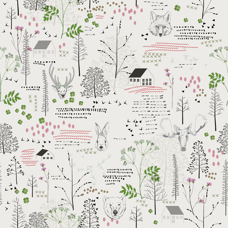 Seamless pattern with trees, shrubs, foliage, deer, elk, fox, bear, rabbit, rabbit, animals on light background in vintage style. Background for fabric, scrapbooking in hipster style. Hand drawing.