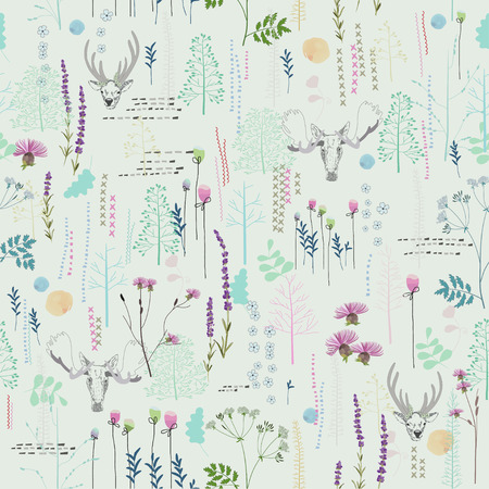 Seamless pattern with trees, shrubs, foliage, deer, elk, animals on light background in vintage style. Background for fabric, scrapbooking, greeting cards, gifts in hipster style. Hand drawing.