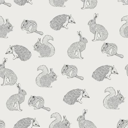 lapin silhouette: Seamless h�risson, l'�cureuil, le li�vre, le lapin, l'�cureuil, animaux sur fond clair dans le style vintage. Contexte pour le tissu, scrapbooking, cartes de voeux dans le style hippie. Dessin � la main. Illustration