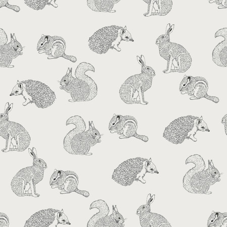 gray pattern: Seamless pattern with hedgehog, squirrel, hare, rabbit, squirrel, animals on light background in vintage style. Background for fabric, scrapbooking, greeting cards in hipster style. Hand drawing.