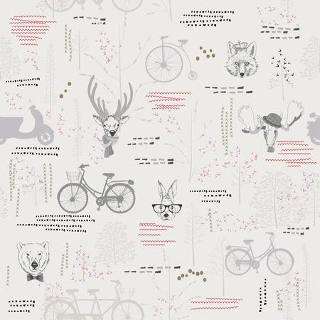silhouette lapin: Seamless pattern avec des arbres, des arbustes, des feuillages, des animaux, des cerfs, des wapitis, le lapin, le lièvre, le renard, l'ours, sur fond clair dans le style vintage. Contexte pour le tissu, scrapbooking, cartes de voeux dans le style hippie.