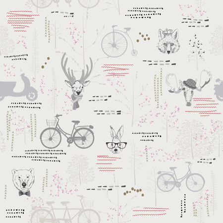Seamless pattern with trees, shrubs, foliage, animals, deer, elk, rabbit, hare, fox, bear, on light background in vintage style. Background for fabric, scrapbooking, greeting cards in hipster style.