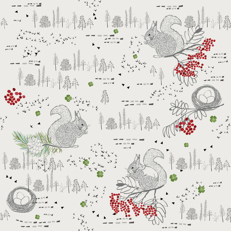 red squirrel: Seamless pattern with squirrels, mountain ash, pine cones, branches, trees, woods and herbs in a Scandinavian style.