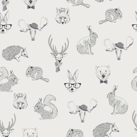 Seamless pattern avec des arbres, des arbustes, le feuillage, animalsrabbit, le lièvre, l'écureuil, le cerf, le wapiti, l'écureuil, hérisson, le renard, l'ours, sur fond clair dans le style vintage. Dessin à la main.
