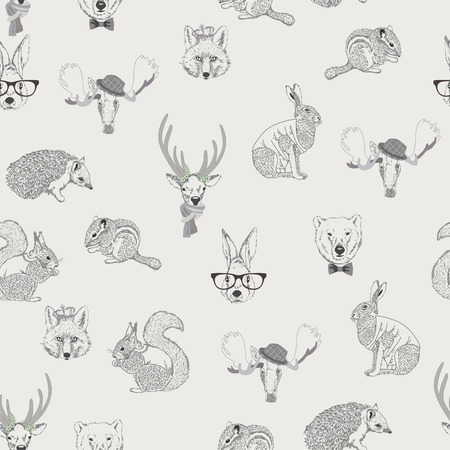 Seamless pattern with trees, shrubs, foliage, animalsrabbit, hare, squirrel, deer, elk, squirrel, hedgehog, fox, bear, on light background in vintage style. Hand drawing.