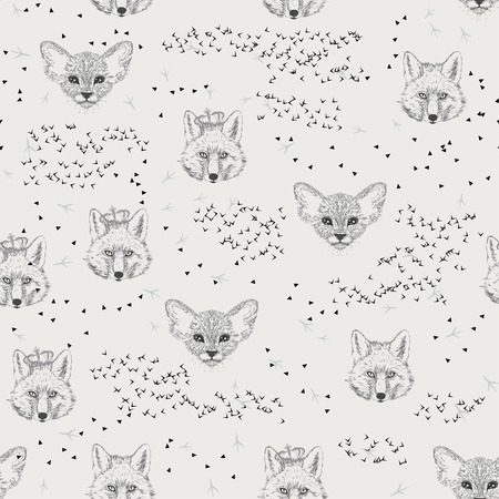 cat footprint: Seamless pattern with trees, shrubs, foliage, animals, fox, kitten, cat on light background in vintage style. Background for fabric, scrapbooking, greeting cards in hipster style. Hand drawing. Illustration