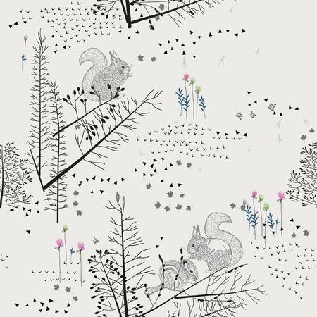 빛 배경에 다람쥐, 다람쥐, 오소리, 나무, 관목, 단풍, 동물 원활한 패턴입니다. 직물, 스크랩북, 인사말 카드, 힙 스터 스타일의 선물에 대 한 배경입니