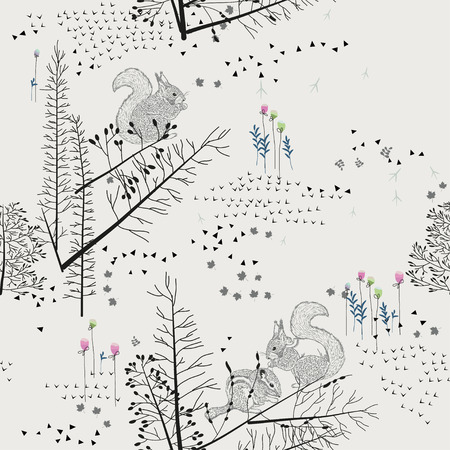 Seamless pattern with squirrel, chipmunk, badger, trees, shrubs, foliage, animals on light background. Background for fabric, scrapbooking, greeting cards, gifts in hipster style. Hand drawing.