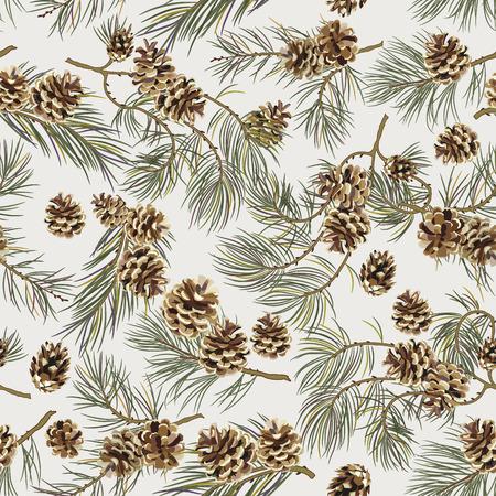 pomme de pin: Seamless pattern avec des cônes de pin. Regard réaliste. Vintage background pour les cartes tissu, scrapbook, affiches, cartes de v?ux. Vector illustration.