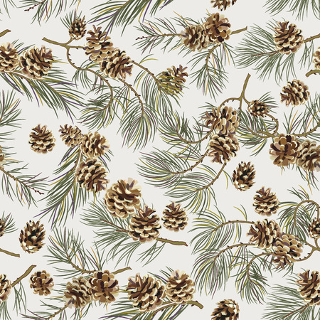 Seamless pattern with pine cones. Realistic look. Vintage background for fabric, scrapbook, poster, greeting cards. Vector illustration. Ilustração