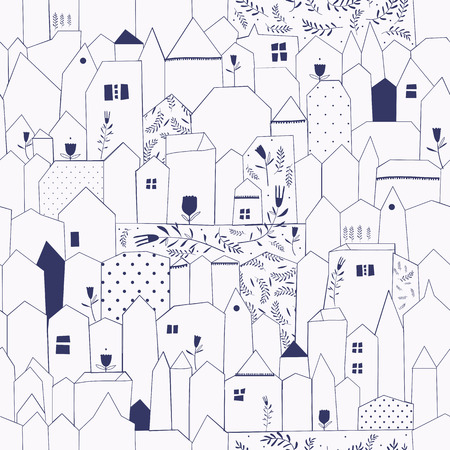 Seamless pattern. Figure cities in vintage style. Doodle design for cloth, paper, cards, greetings, scrapbook. Blue color. Vector