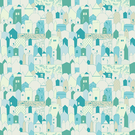 Seamless pattern. Figure cities in vintage style. Doodle design for cloth, paper, cards, greetings, scrapbook. Pastel colors.