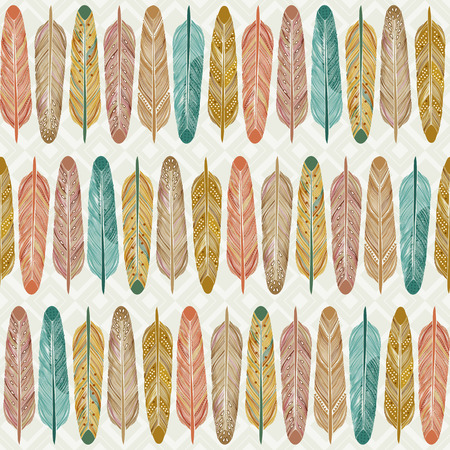 Seamless pattern with feathers with traditional American folk style Vector