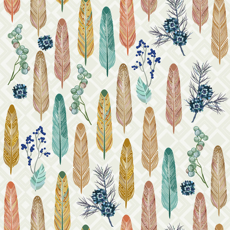 Seamless pattern with feathers and herbs with traditional American folk style Vector
