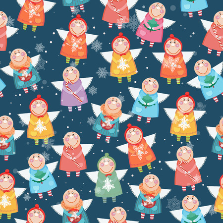 christmas angels: Seamless pattern with christmas angels. Doodle design. Vector illustration