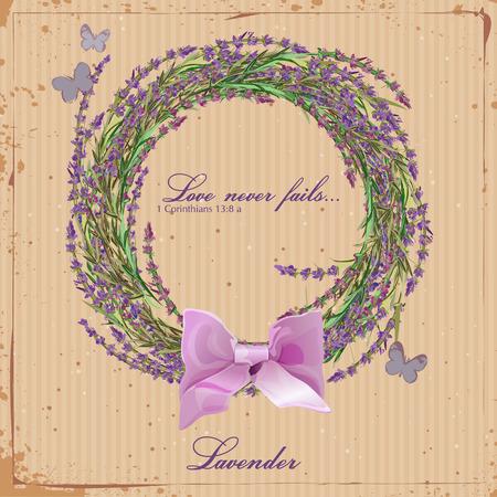 flor de lavanda: Lavender. Corona de hierbas de Provenza. Tarjeta para scrapbooking. Cartel en estilo franc�s de la vendimia. Vectores