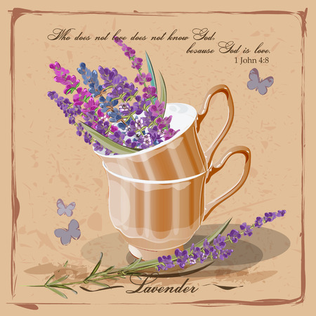 herb garden: Lavender in a porcelain cup. Provence. Card in vintage French style Illustration