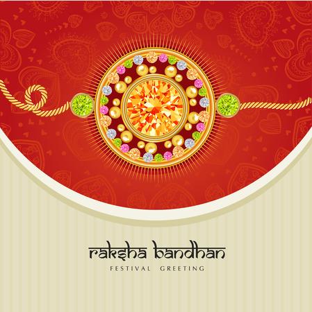 ラクシャバンダンお祝いの祭典の光沢のある赤とベージュの背景に宝石とラキ。