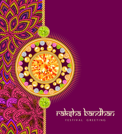 raksha: Rakhi with gems on shiny red and beige background for the festival of Raksha Bandhan celebrations.