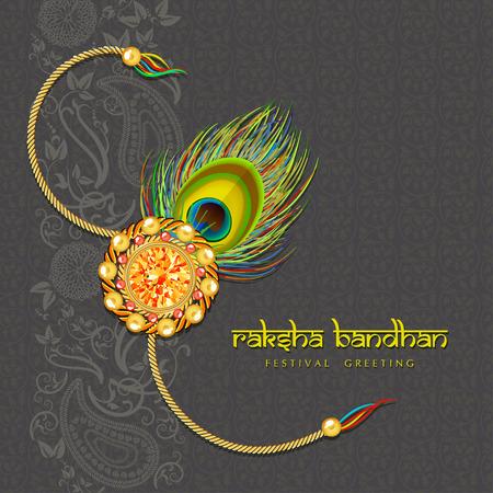 Indian festival Raksha Bandhan green background with beautiful rakhi and wishes. Vector