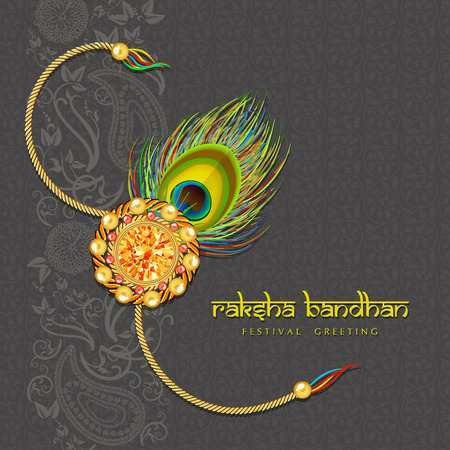 raksha: Indian festival Raksha Bandhan green background with beautiful rakhi and wishes.