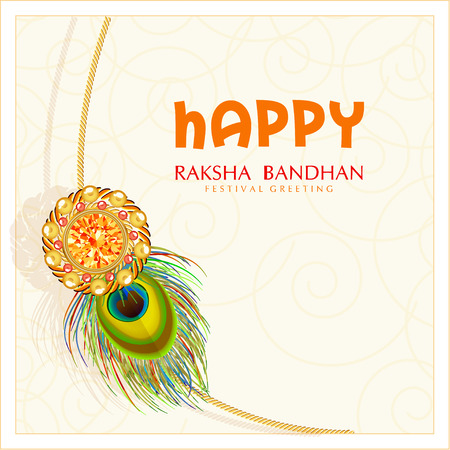 tied girl: Beautiful rakhi in golden frame on floral decorated maroon with gems background for Happy Raksha Bandhan celebrations. Peacock feathers. Illustration