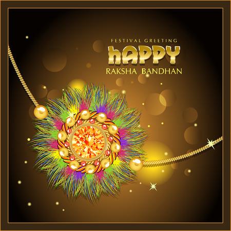 tied girl: Indian festival Raksha Bandhan green background with beautiful rakhi and wishes.