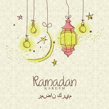 ul: Creative greeting card design for holy month of muslim community festival Ramadan Kareem with moon and hanging lantern and stars on beige background.