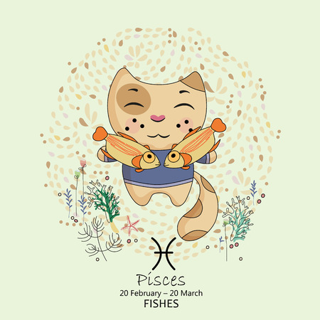 2 months: Zodiac sign - Pisces. Vector illustration. Background with flowers in retro style. Doodle hand-drawn style. Illustration