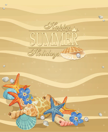 starfish on beach: Summer holiday vacation background poster with beach sand seashells, flowers and starfish Illustration