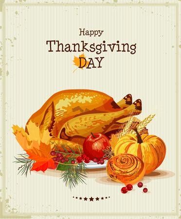 Acción de Gracias tarjeta del día de felicitación con pavo, calabaza, hojas de otoño, manzanas, bayas, frutas, verduras