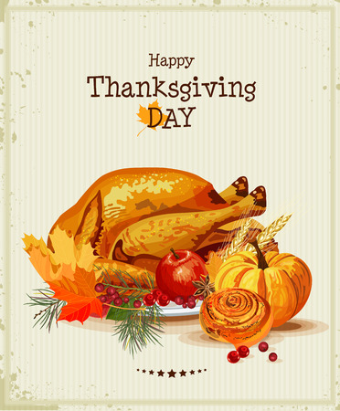 Thanksgiving day Greeting card with turkey, pumpkin, autumn leaves, apples, berries, fruits, vegetables Illustration