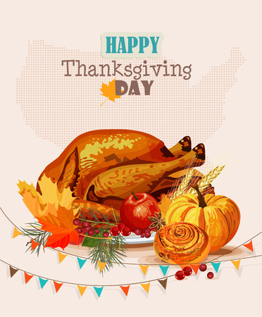 Thanksgiving day Greeting card with turkey, pumpkin, autumn leaves, apples, berries, fruits, vegetables Vector