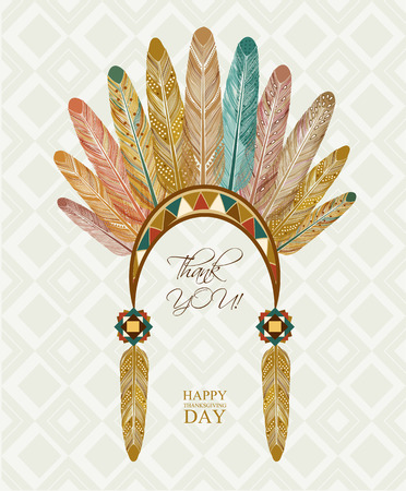 indian chief mascot: Thanksgiving day Indian feathers Illustration