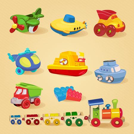 Conjunto de juguetes con el aeroplano, el submarino, camión, camión volquete, helicóptero, diseñador, tren, coche, barco, barco.