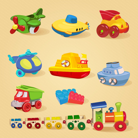 train cartoon: Set of toys with airplane, the submarine, truck, dump truck, helicopter, designer, train, car, ship, boat.