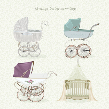 Set of vintage prams on floral background in light colors. Ilustração