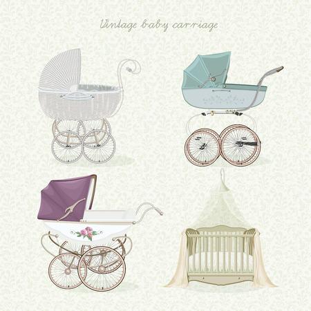 stroller: Set of vintage prams on floral background in light colors. Illustration