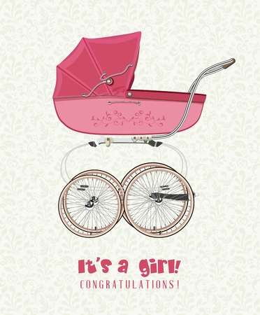 baby carriage: Greeting card with birthday girl with a vintage pink stroller