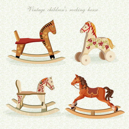 set with rocking horses in vintage style.