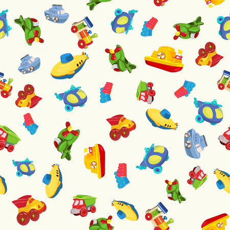 Naadloze patroon met vliegtuig, boot, schip, helikopter, kubus, onderzeeër, auto, vrachtwagen, bestelwagen, voor kinderen in cartoon-stijl Vector Illustratie
