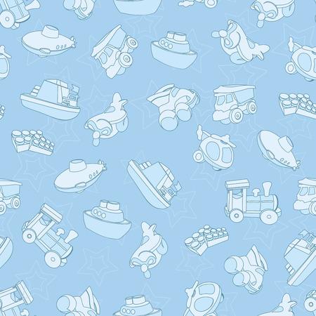 Naadloze patroon met vliegtuig, boot, schip, helikopter, kubus, onderzeeër, auto, vrachtwagen, bestelwagen, voor kinderen in cartoon-stijl