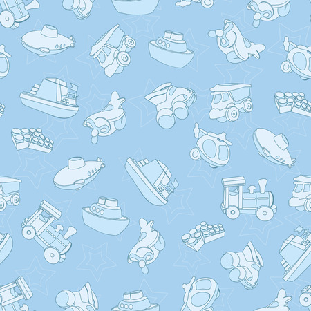 Seamless pattern with airplane, airplane, boat, ship, helicopter, cube, submarine, car, truck, van, for kids in cartoon style Vector