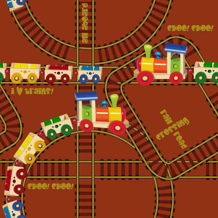 tren caricatura: Patr�n sin fisuras con los trenes y ferrocarriles