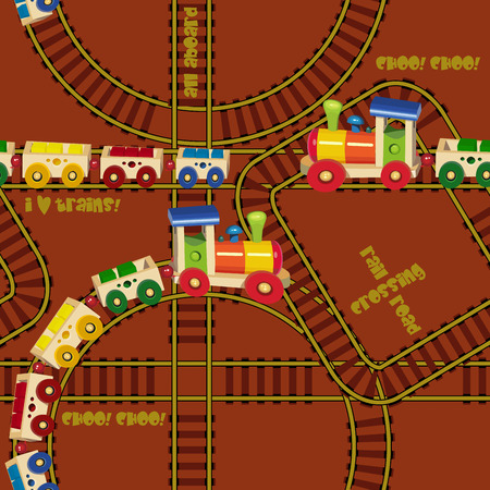 railroad station: Seamless pattern with trains and railroad
