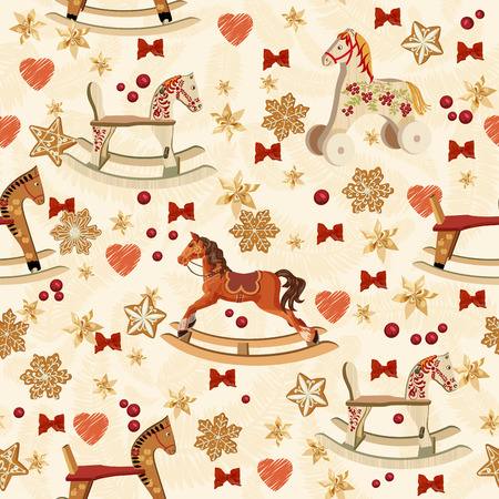 Seamless pattern with rocking horse, bows, gingerbread on retro background in vintage style.