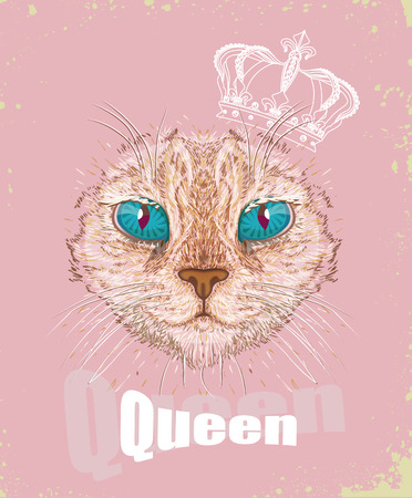 t shirt print: Hand Drawn Fashion Illustration of Cat Hipster with Crown