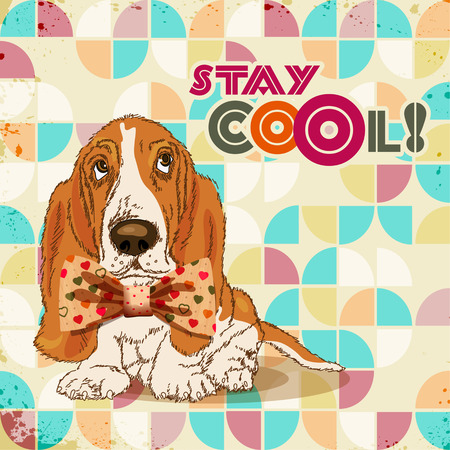 Dog hipster with bow Vector