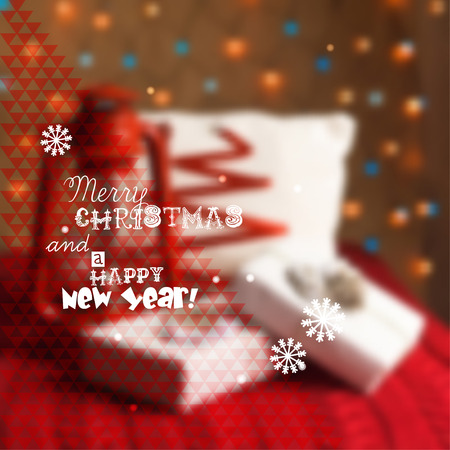 tinsel: Merry Christmas Greeting Card illustration blurred lantern, knitted scarf, gifts Illustration
