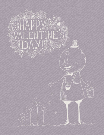 Valentines day greeting card in vintage hipster style Illustration